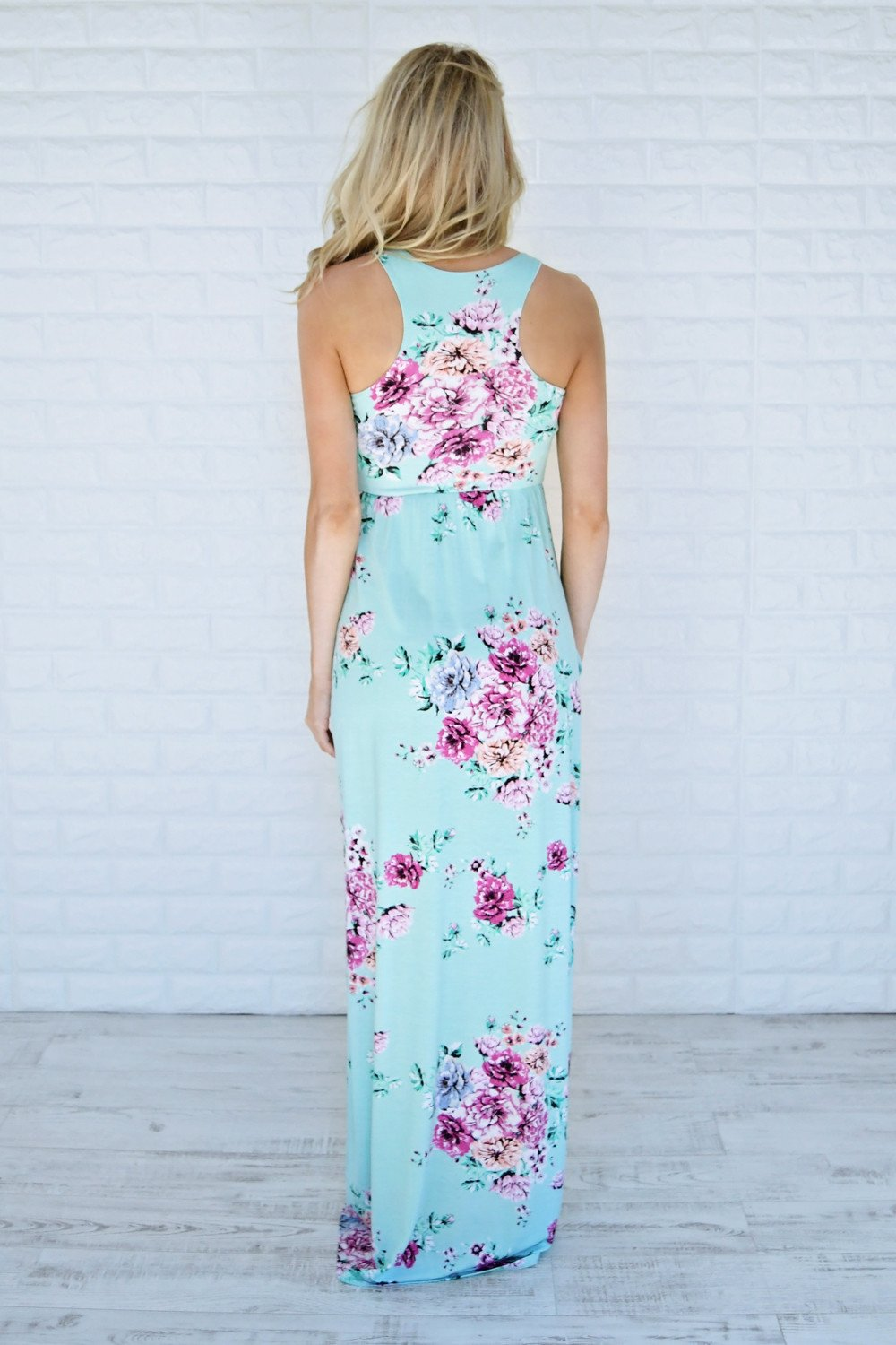 Clouds of Floral Maxi Dress ~ Mint
