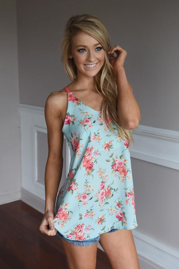 Early Bird Floral Top ~ Blue