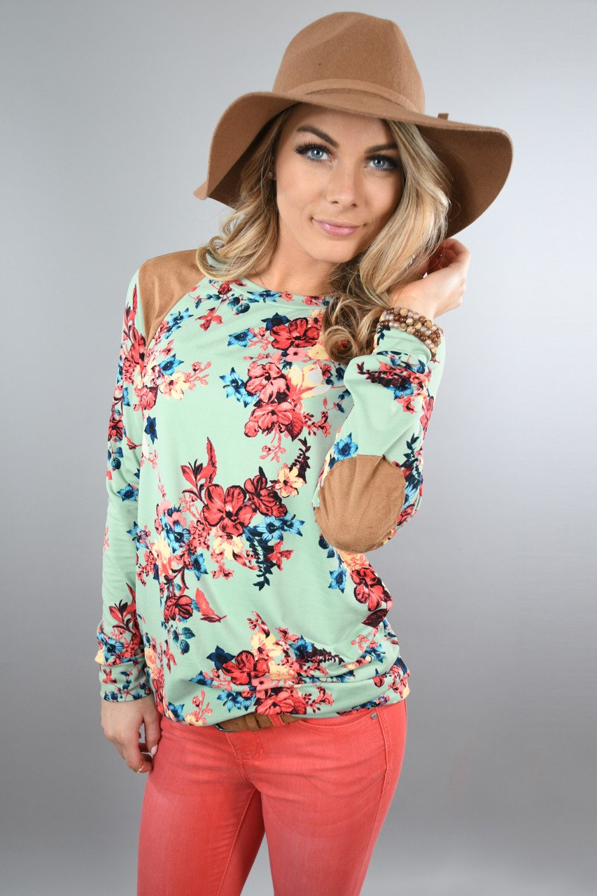 Mint Floral Long Sleeve Top