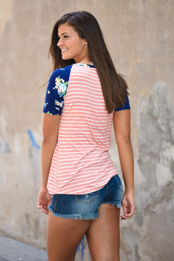 Vacation Mode Floral Top ~ Peach