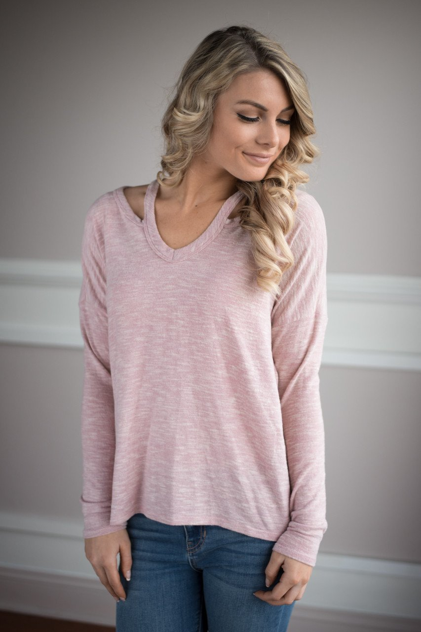 Show a Little Shoulder Top ~ Pink