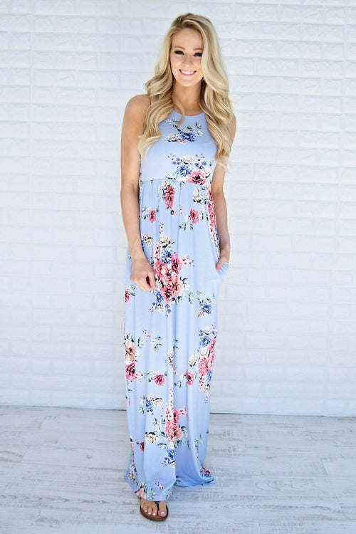 Clouds of Floral Maxi Dress ~ Blue