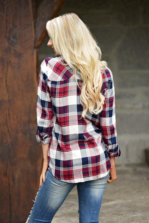 Traditional Red & Blue Flannel Top