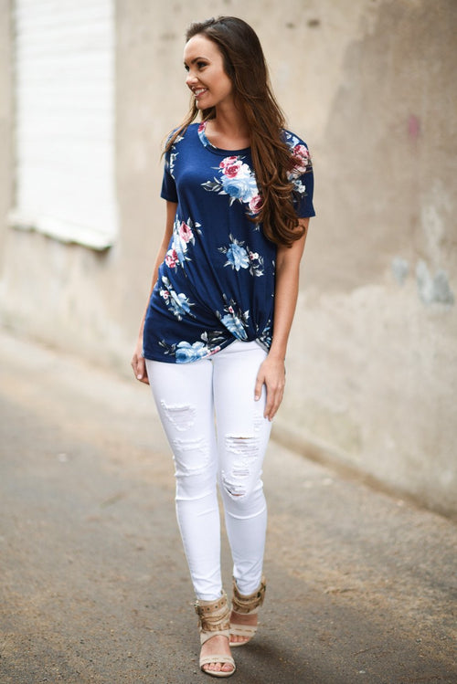 Cheers! Navy Floral Knot Top