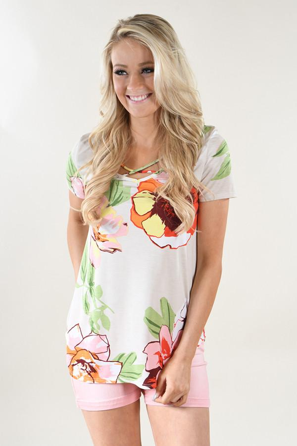 Tropical Criss Cross Floral Top ~ Cream