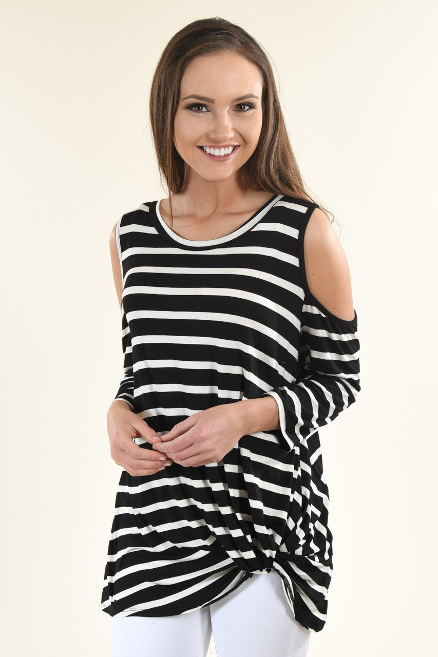 Cold Shoulder Black Striped Top