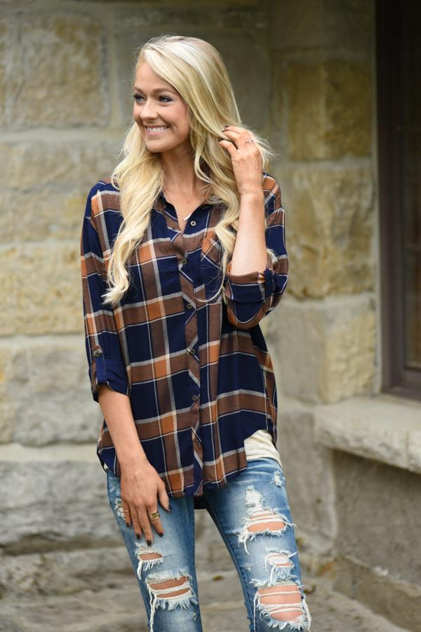 Traditional Mustard & Navy Plaid Top