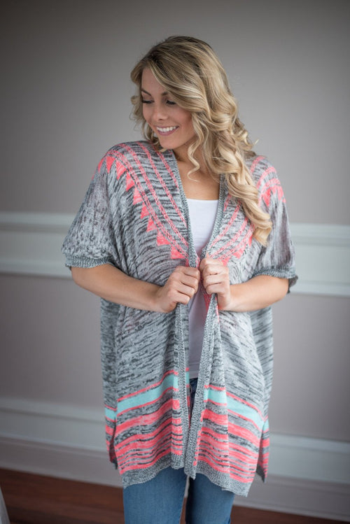 Grey and Pink Aztec Cardigan