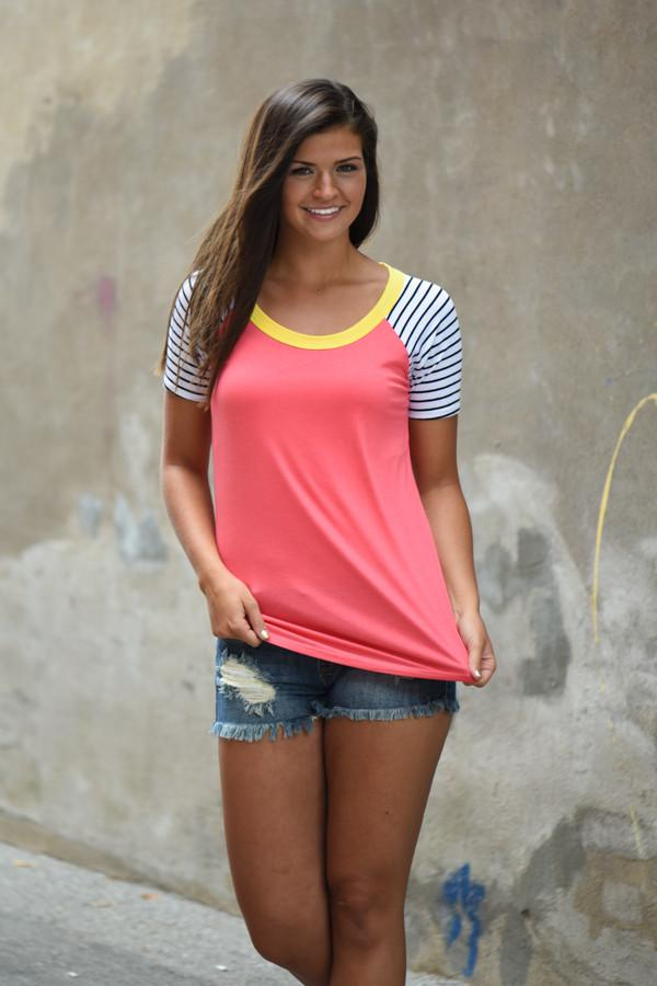 Collar Full of Color Striped Top ~ Coral