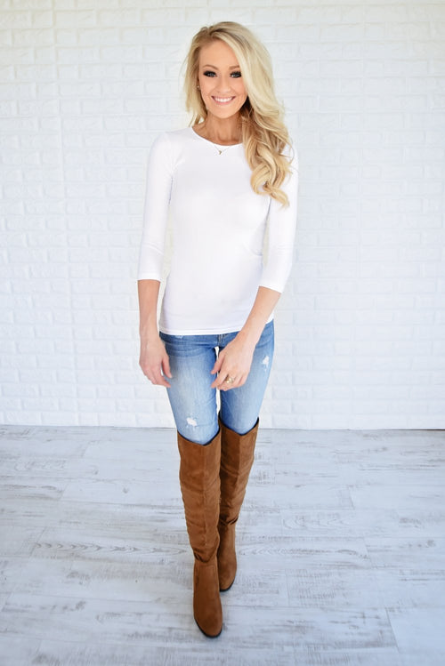 3/4 Sleeve Seamless Top -White