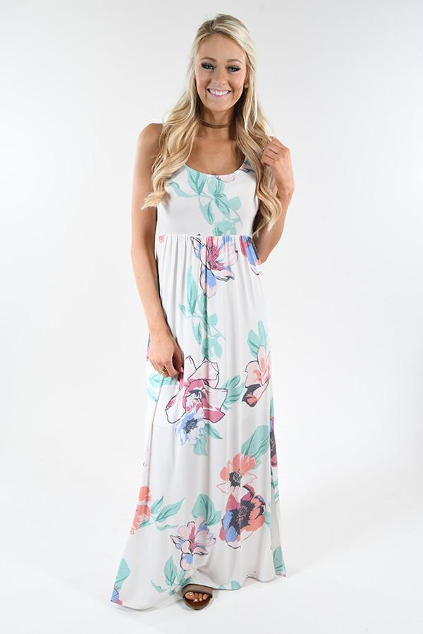 Hawaiian Vacation Floral Maxi Dress