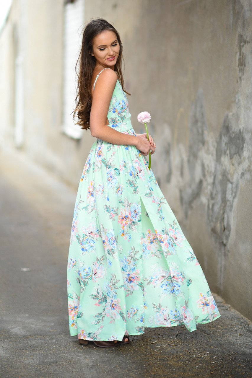 Feeling Minty ~ Floral Maxi Dress