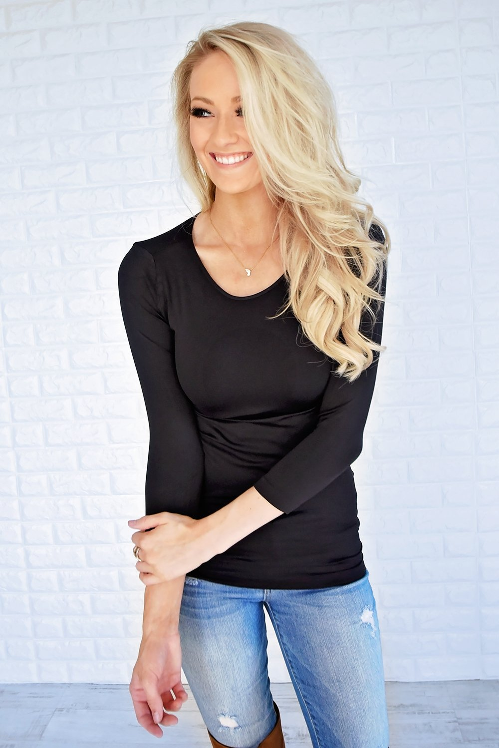 3/4 Sleeve Seamless Top - Black