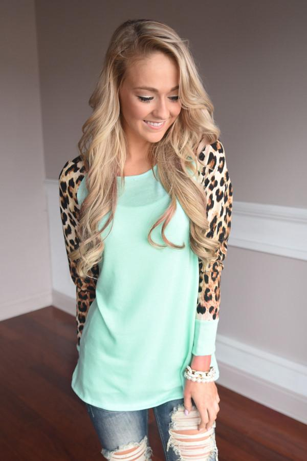 Mint Leopard Top
