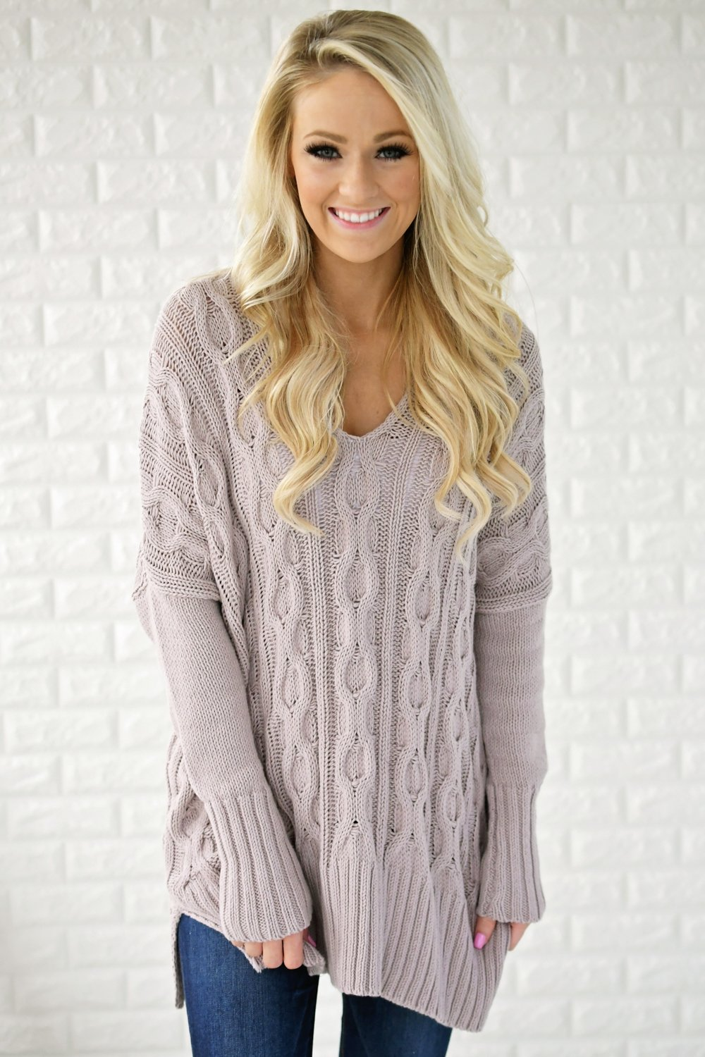 Light Purple V-Neck Sweater