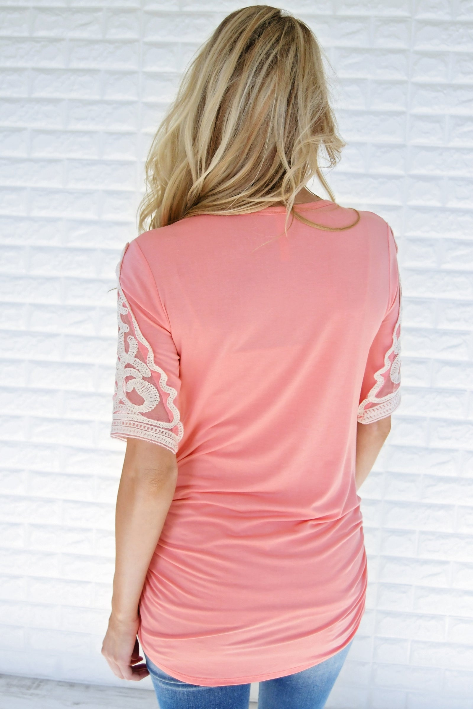 Shear Glamour Top ~ Soft Coral