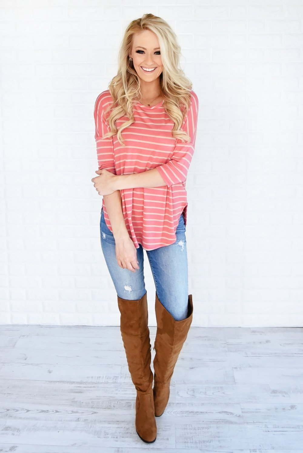 Coral & Tan Striped Top