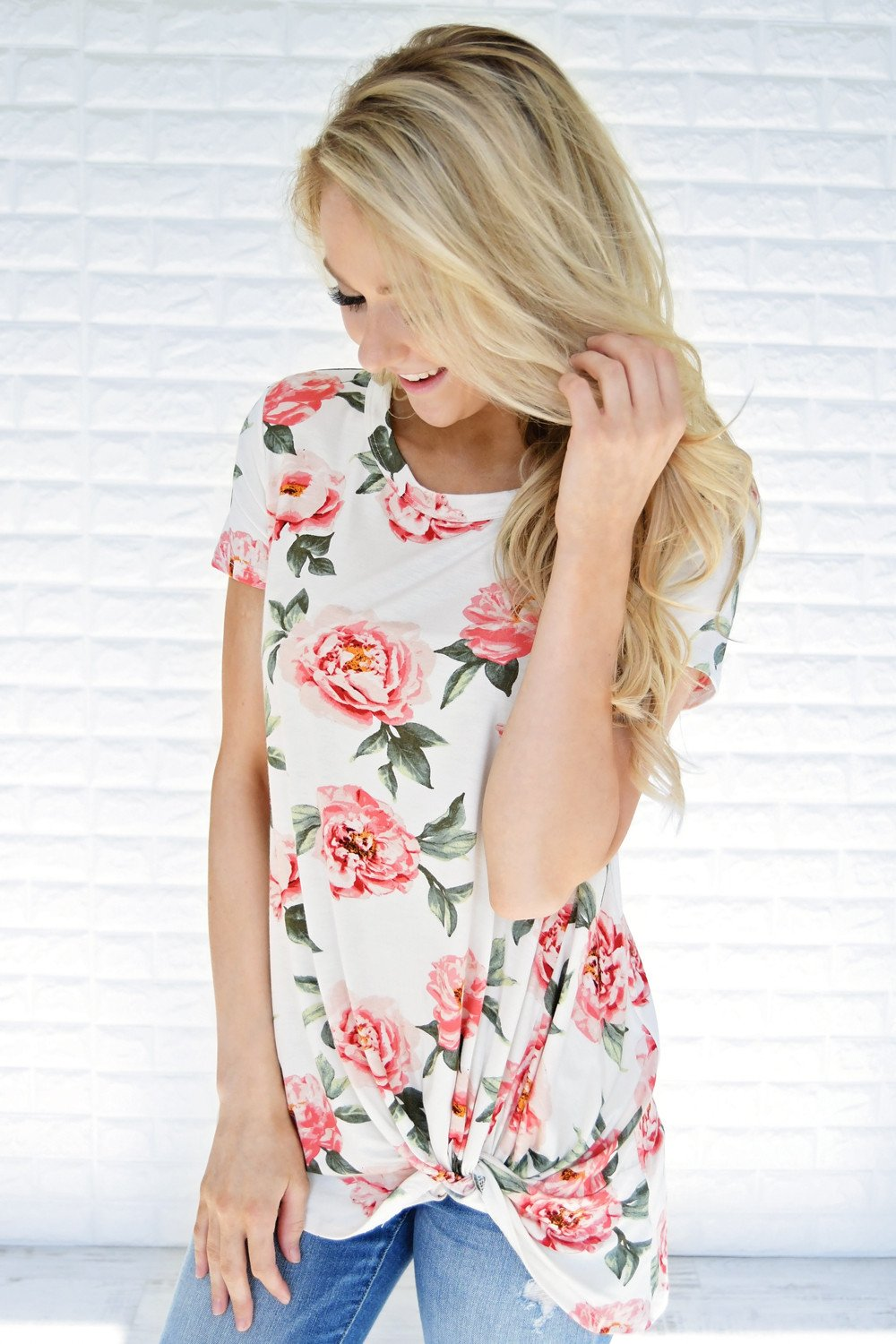 Everyday Beauty Floral Top ~ White