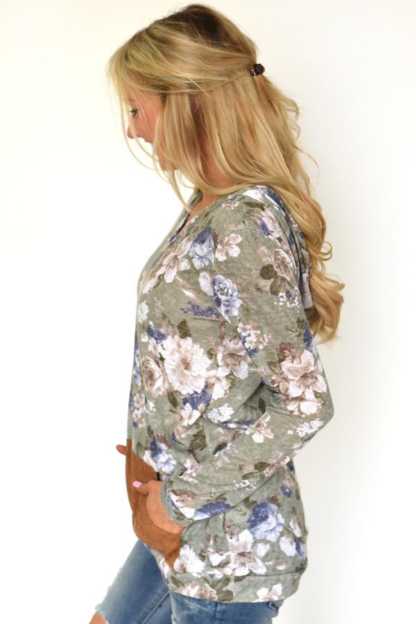 Floral Hoodie Top ~ Light Olive