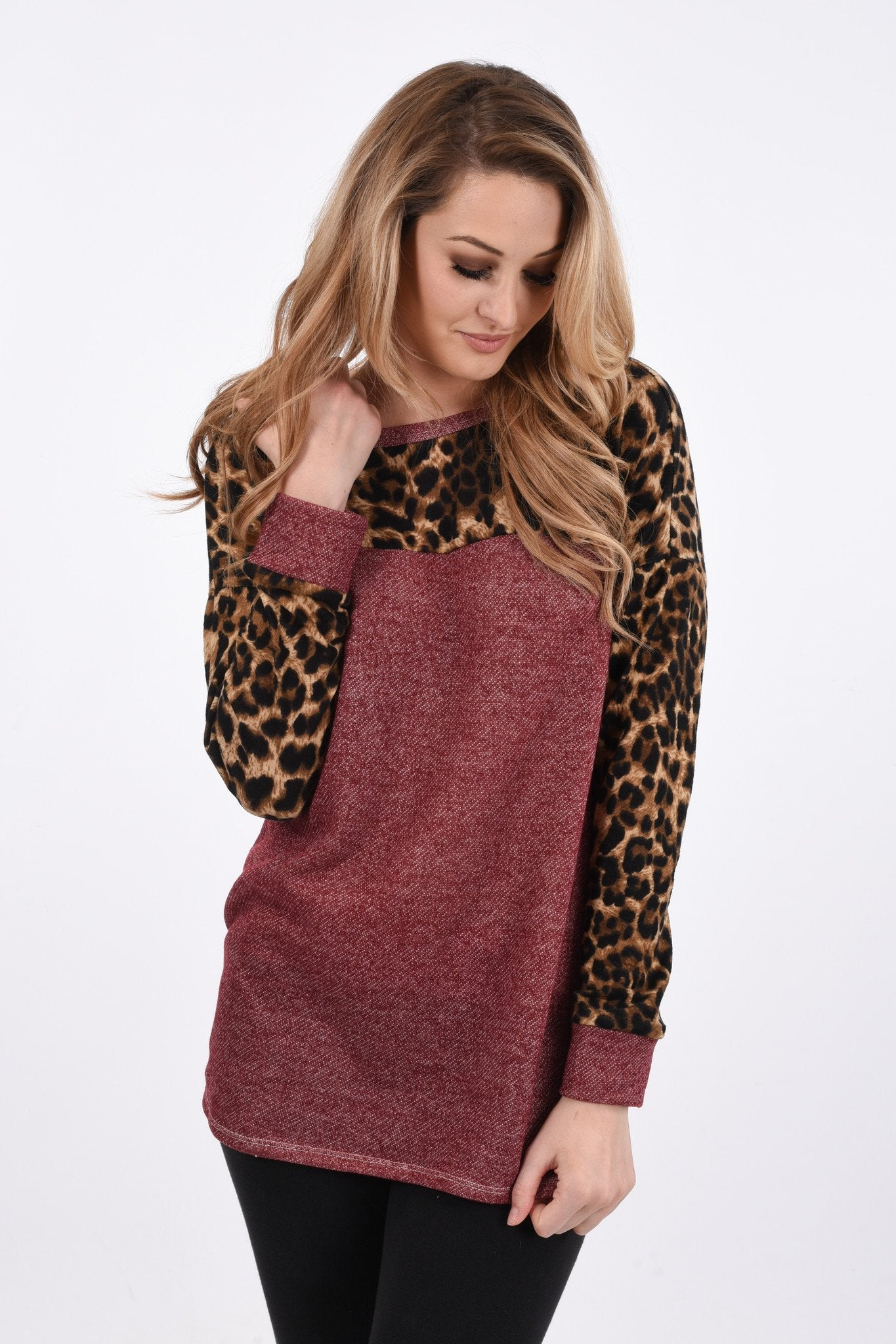 Wild Side Top ~ Burgundy