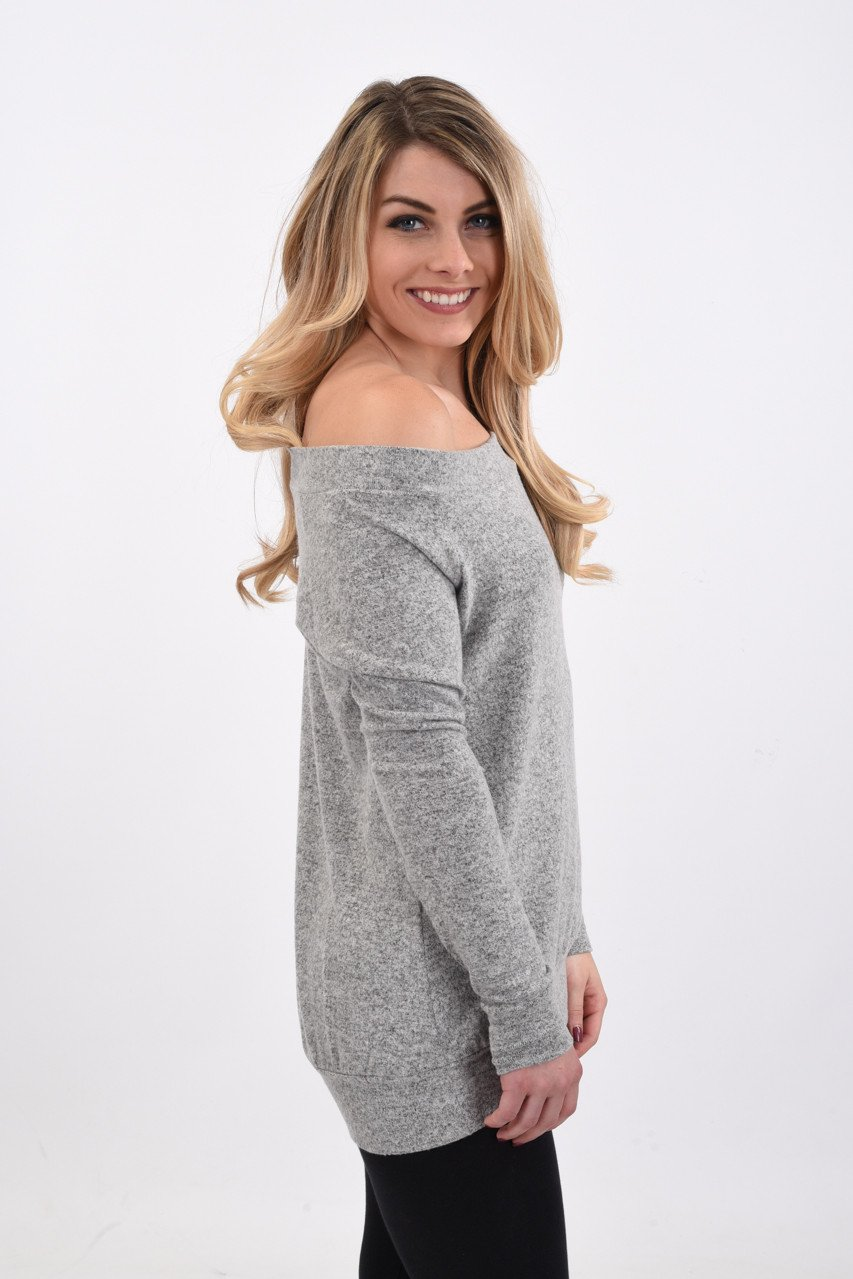 Drop Shoulder Top ~ Grey