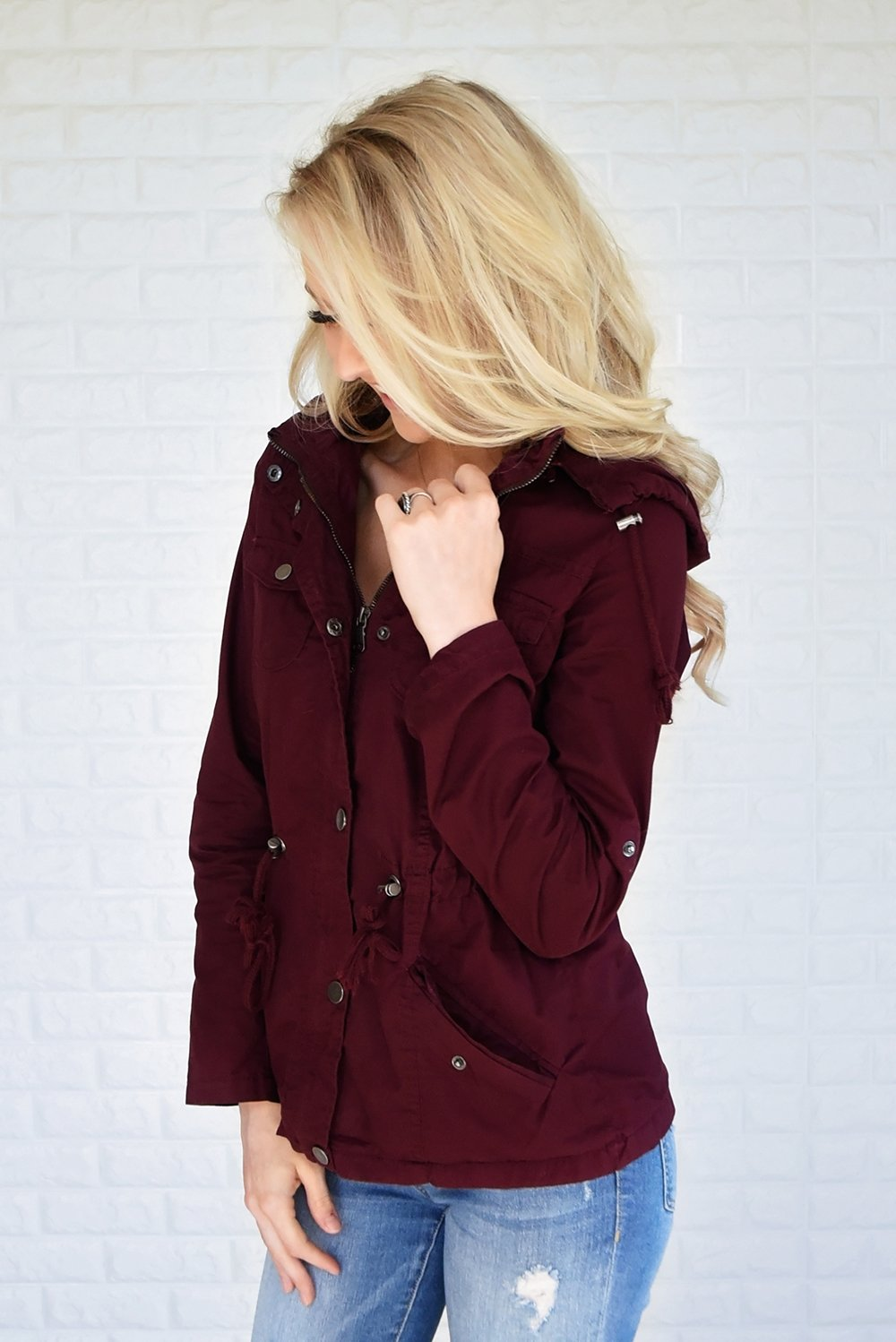 Crisp Leaves & Cool Breeze Fall Jacket ~ Burgundy