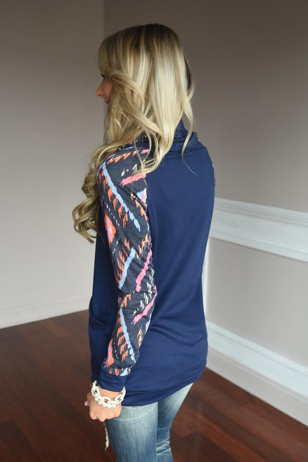 Navy Cowl Neck Top