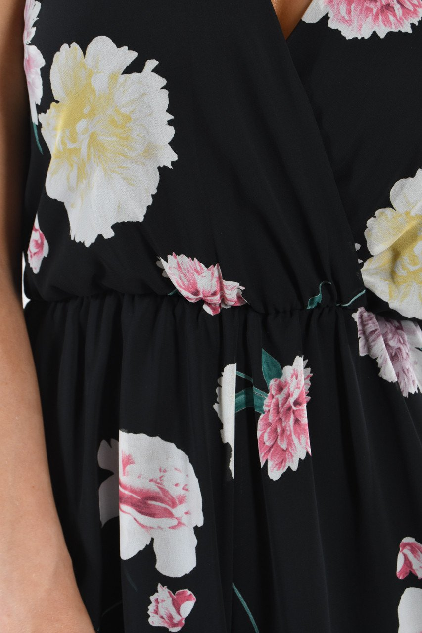Citrus Groves Black Floral Romper