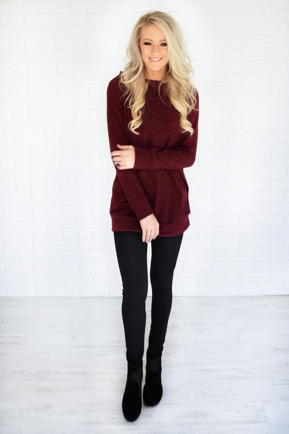 Forever Cozy Tunic Top ~ Burgundy