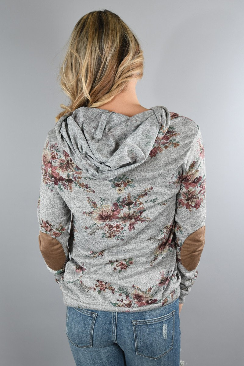 Floral Elbow Patch Hoodie