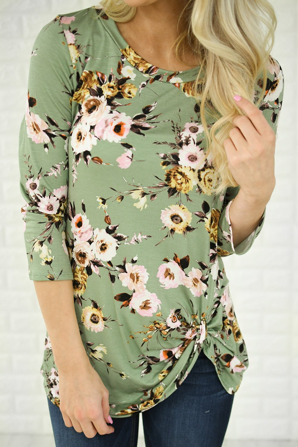 3/4 Sleeve Mint Floral Knot Top