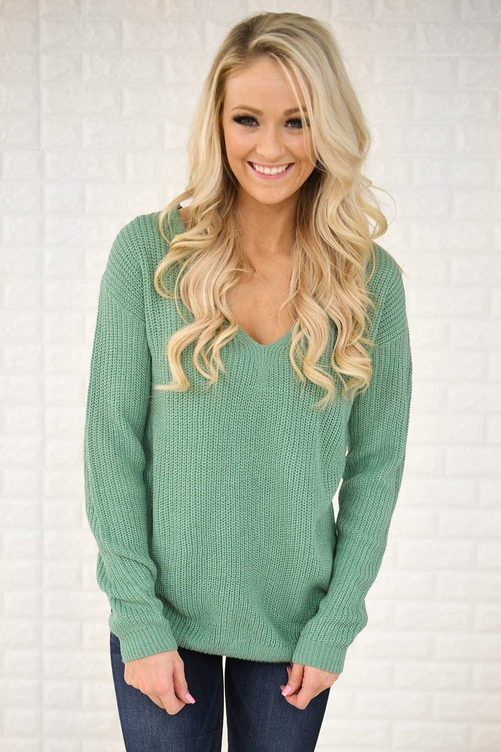 Mint Knit Back Lace Sweater The Pulse Boutique