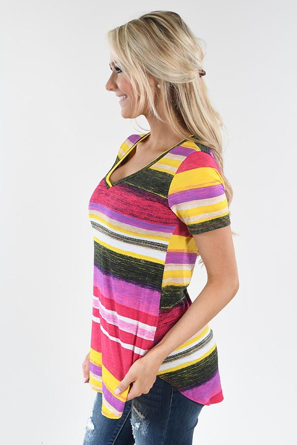 Summer Sunset Striped Tee
