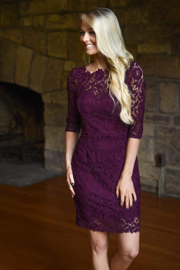Burgundy Lace Dress