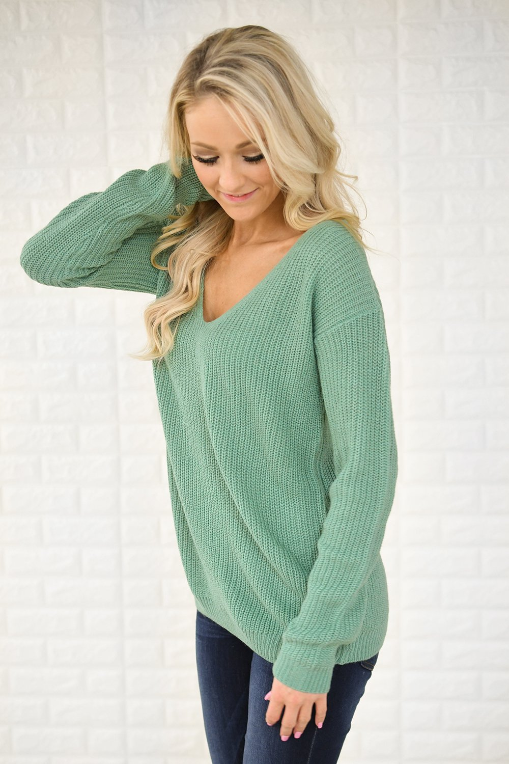 Mint Knit Back Lace Sweater – The Pulse Boutique 48d001f7f
