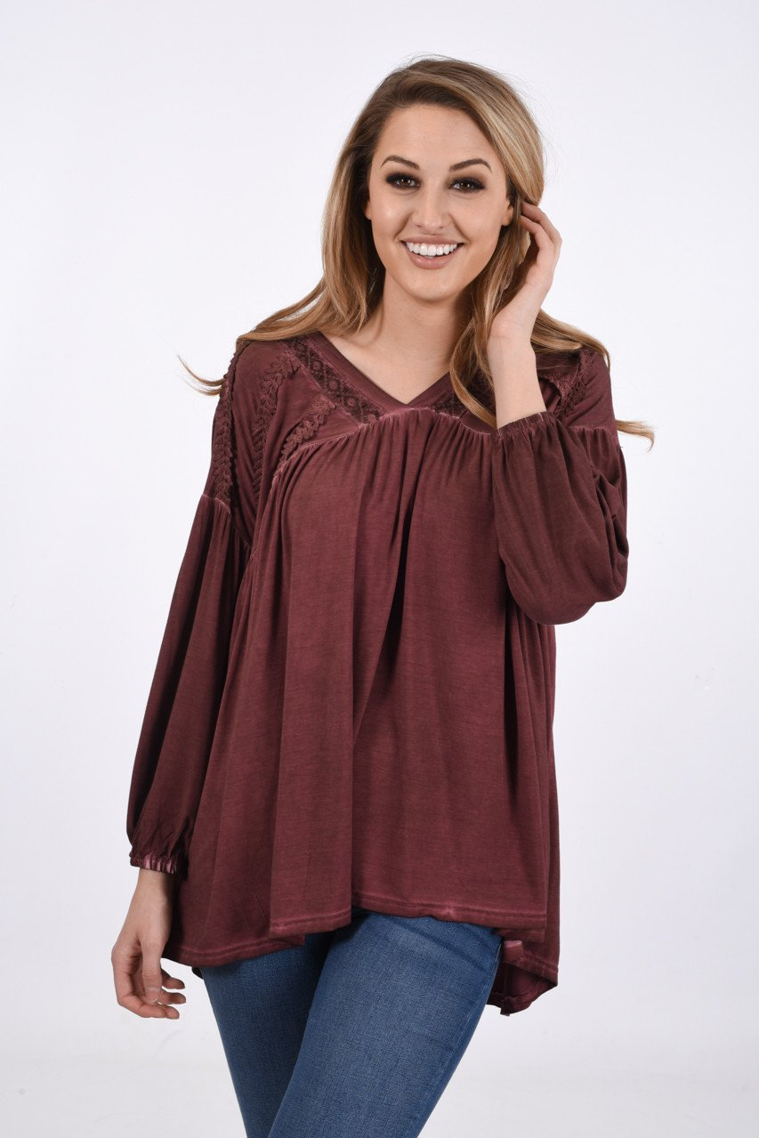 New Beginnings Top ~ Burnt Maroon