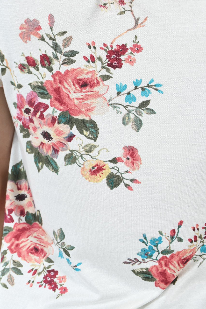 Summertime Floral Top ~ Ivory