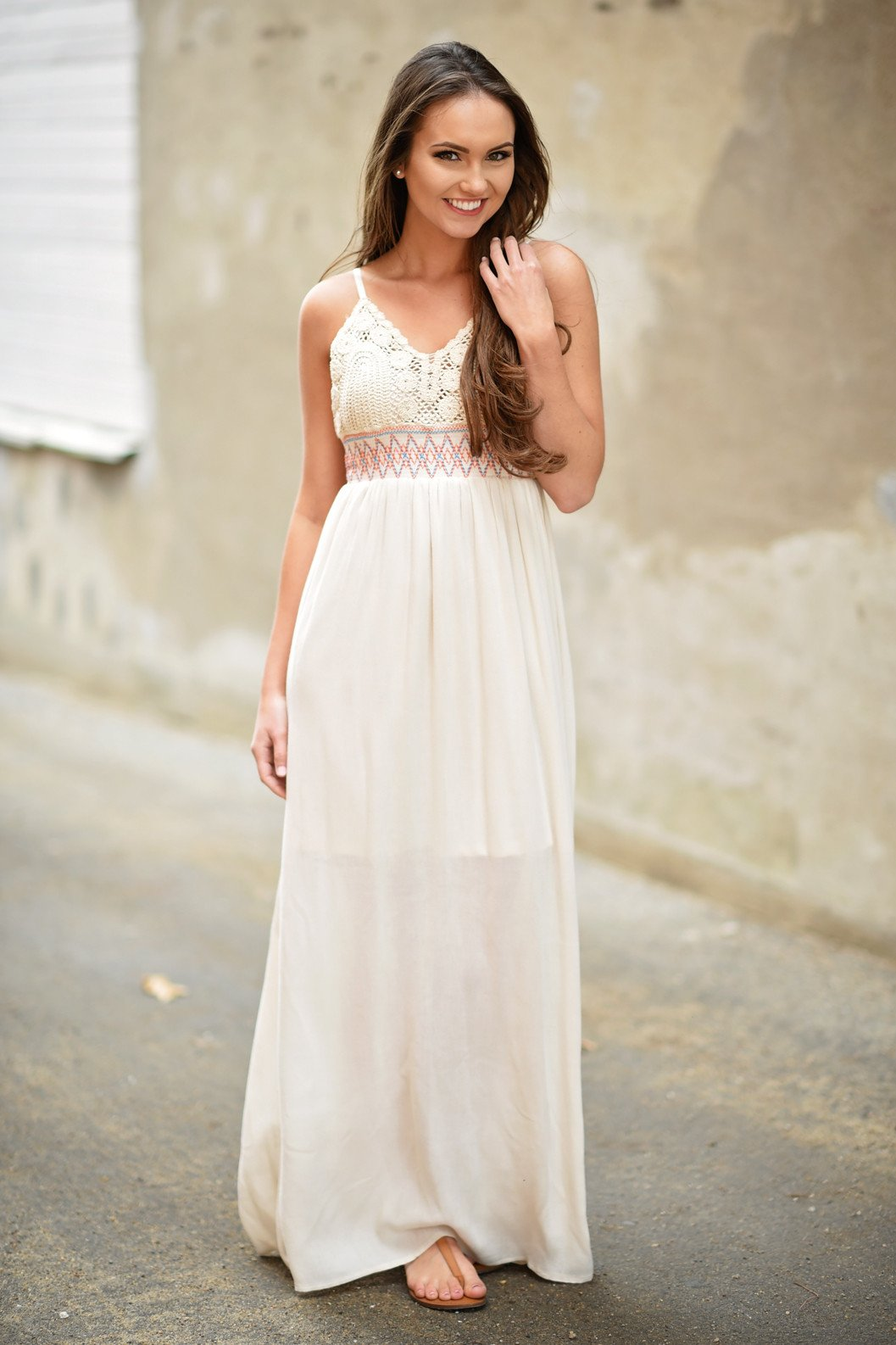 Cream Crochet Maxi Dress