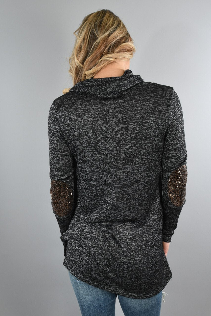 Speckled Charcoal Top w/Sequin Elbow Patches