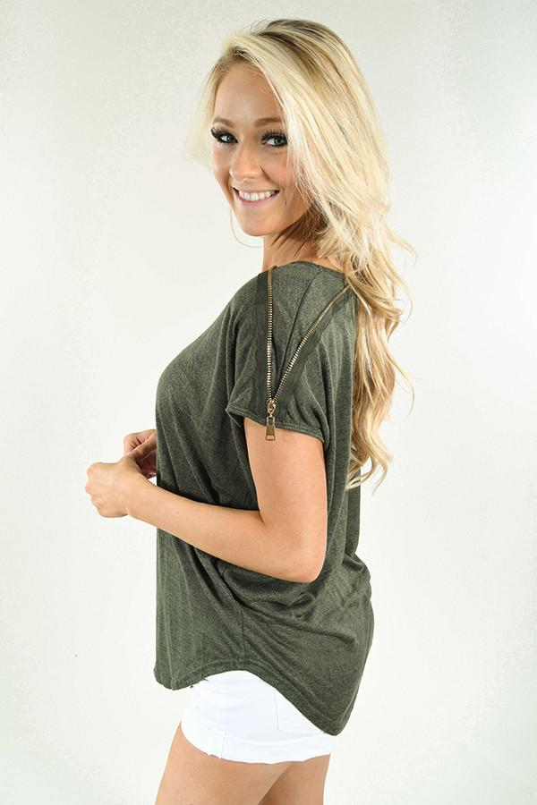 Zip It Deep Olive Top
