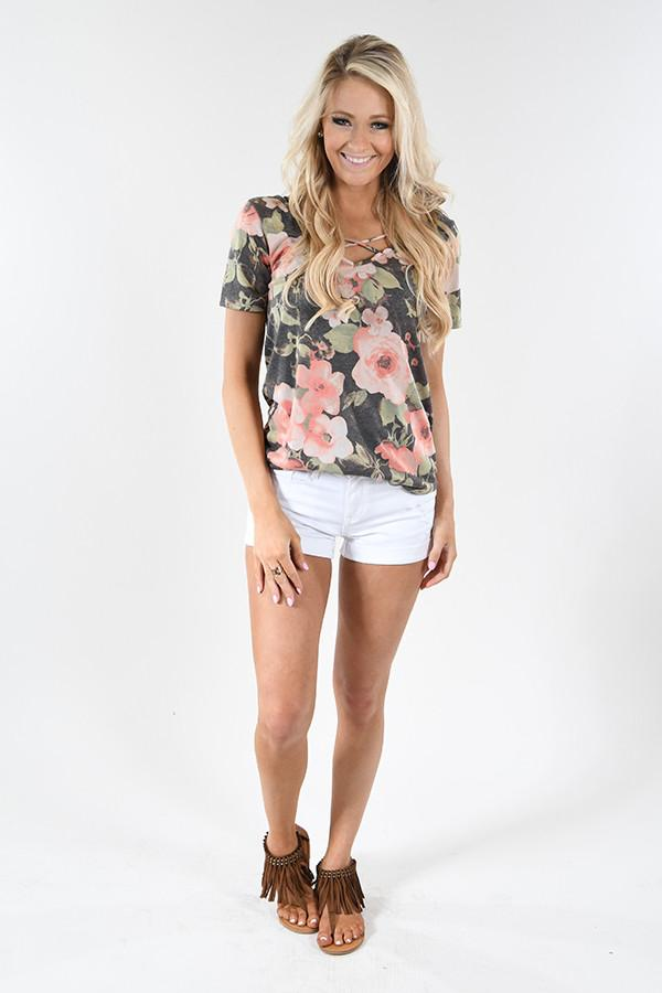Love the Way You Look Floral Criss Cross Top