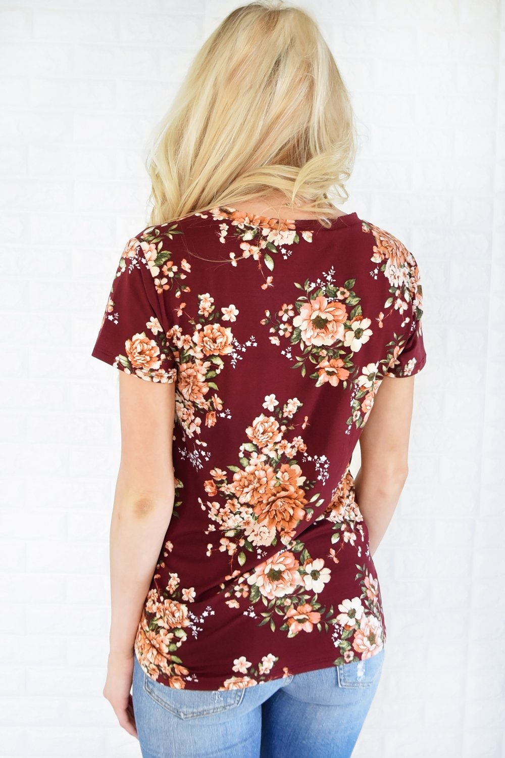 Beautifully Blooming Top ~ Burgundy