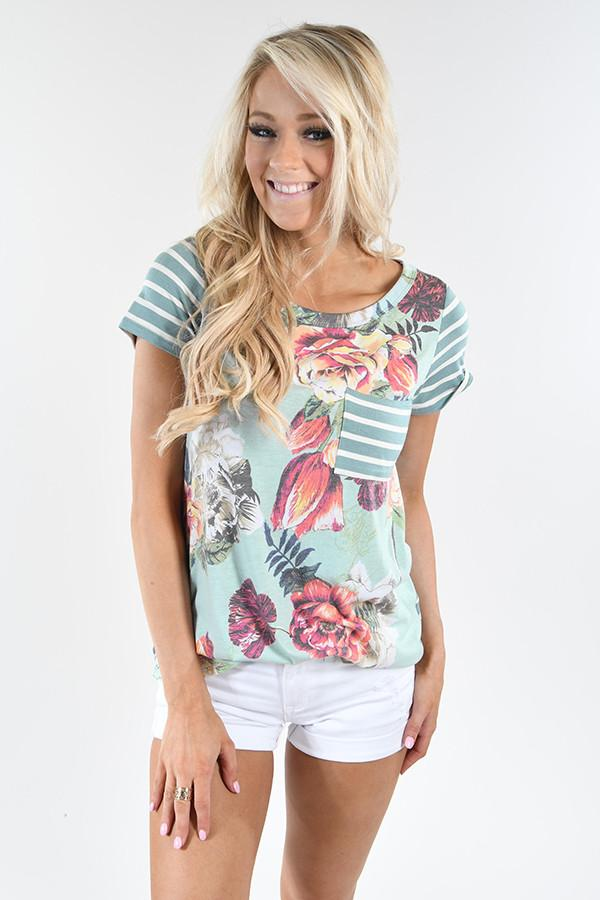 Tulip Time Pocket Top - Mint