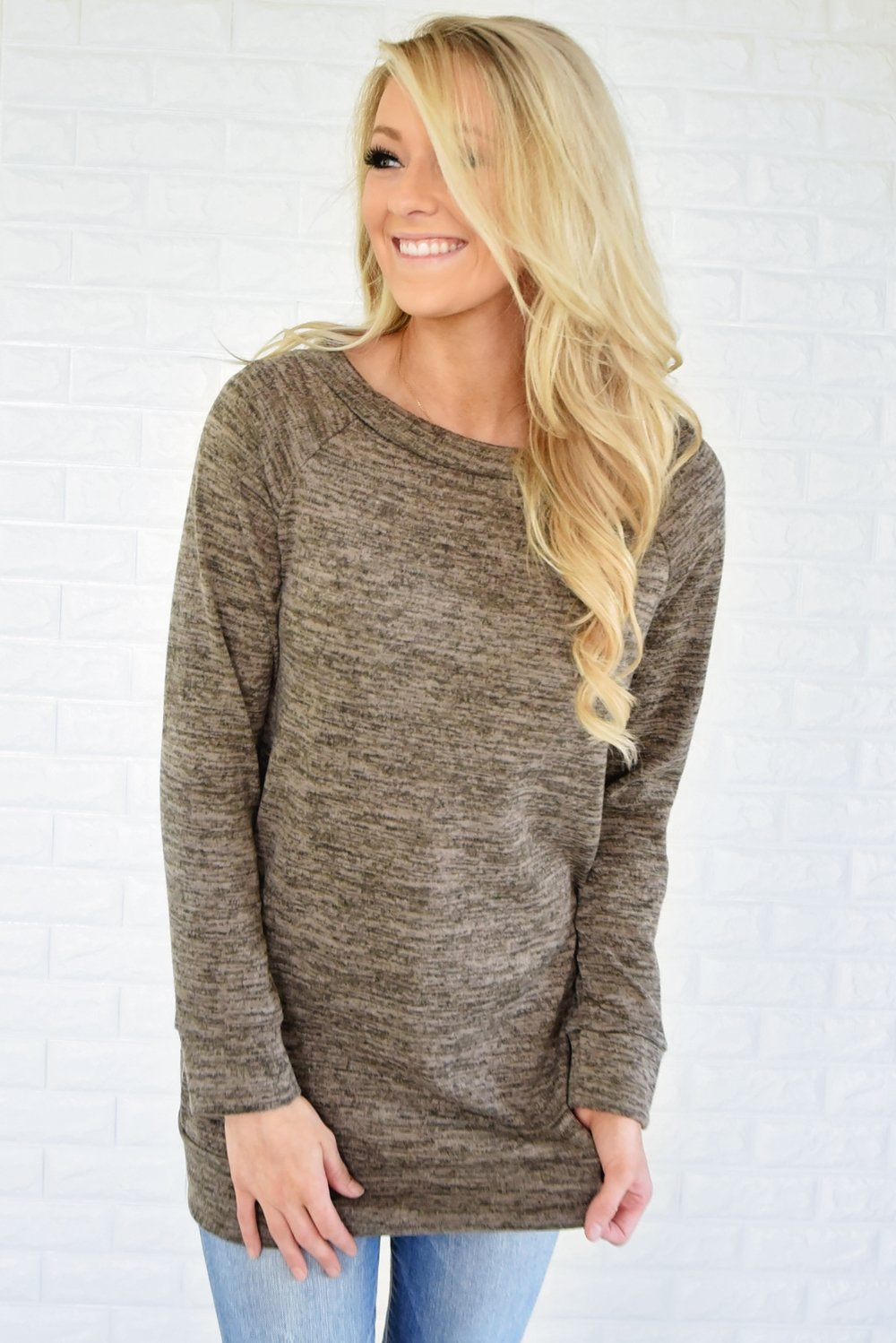 Forever Cozy Tunic Top ~ Mocha