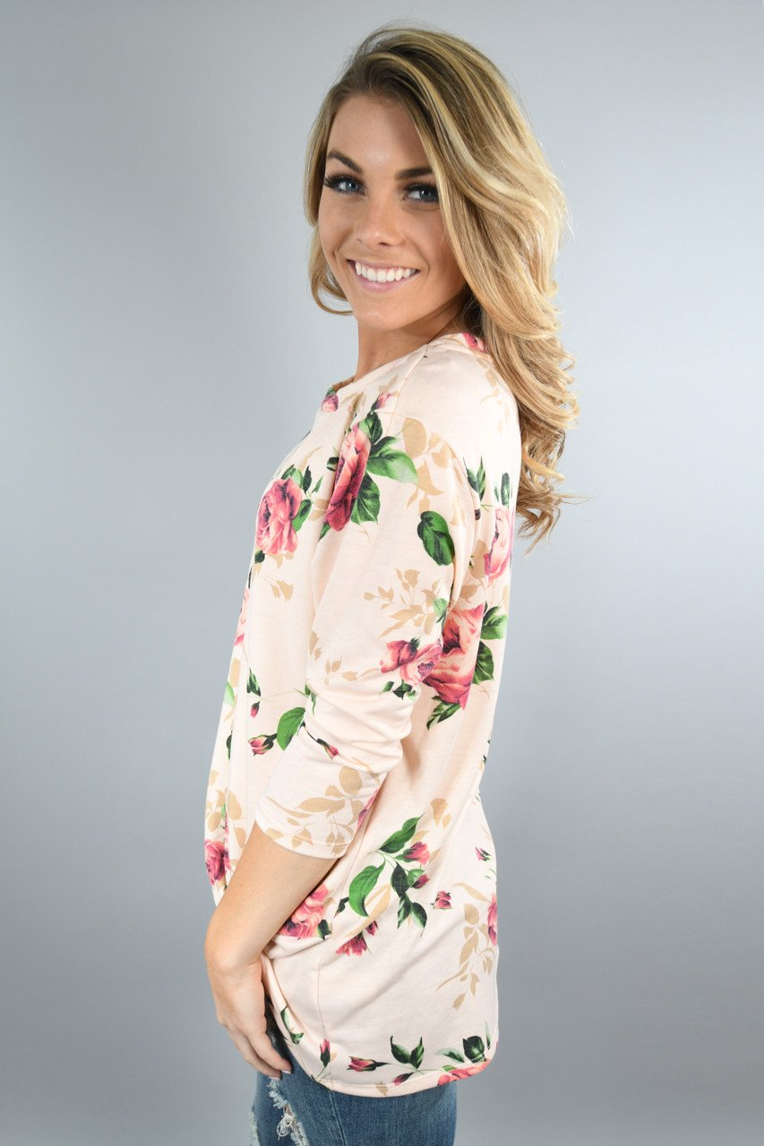 Peach Floral Knot Top