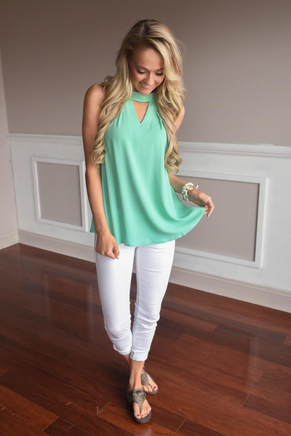 Work Groove Top ~ Mint