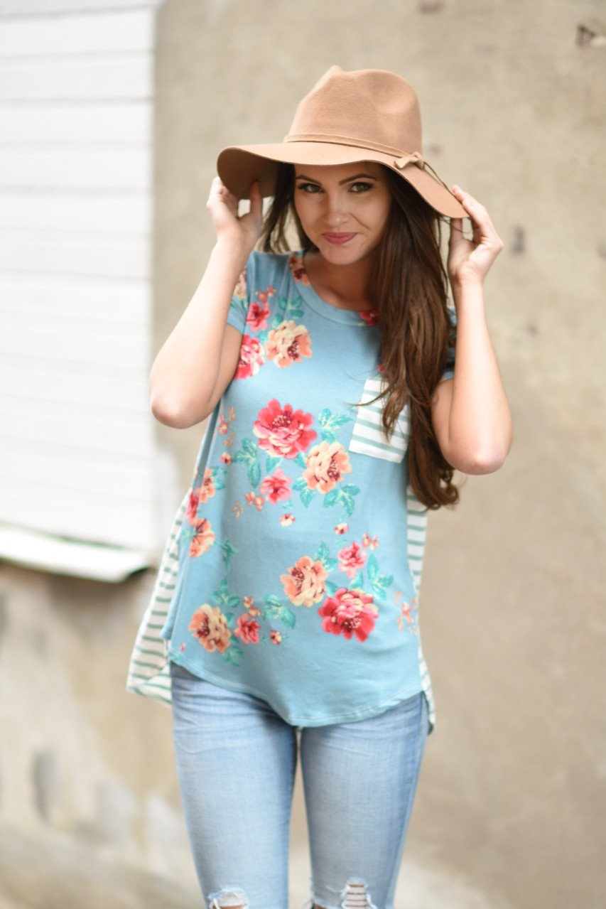 Blue Floral & Stripes Pocket Top