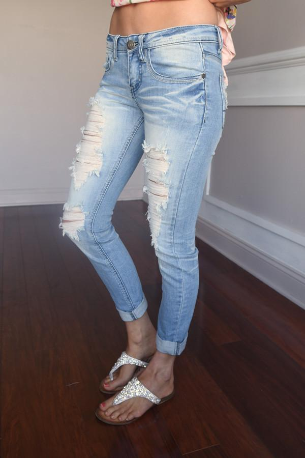 Ebony Light Wash Denim Jeans