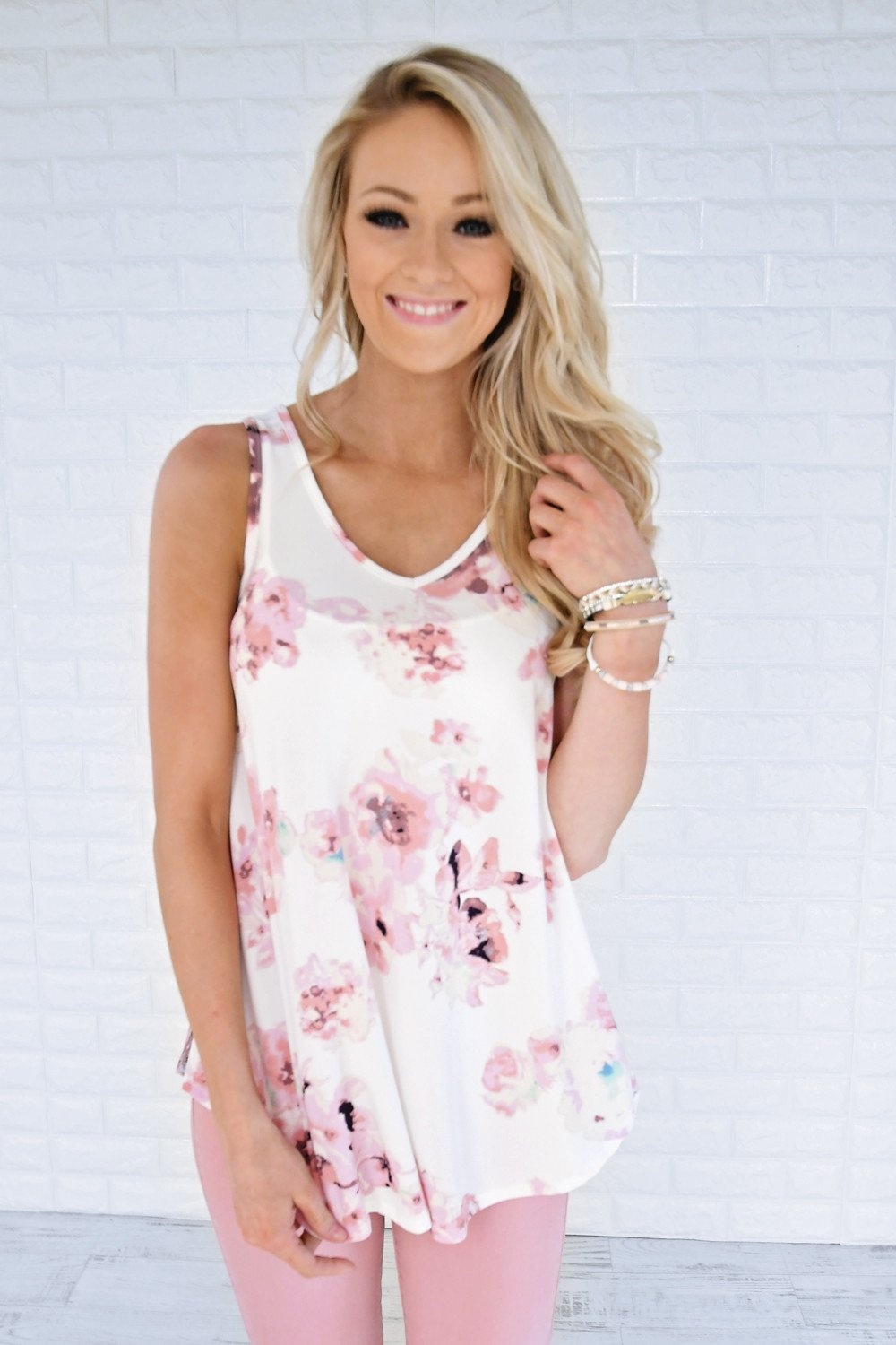 Dessert First Floral Top ~ Ivory