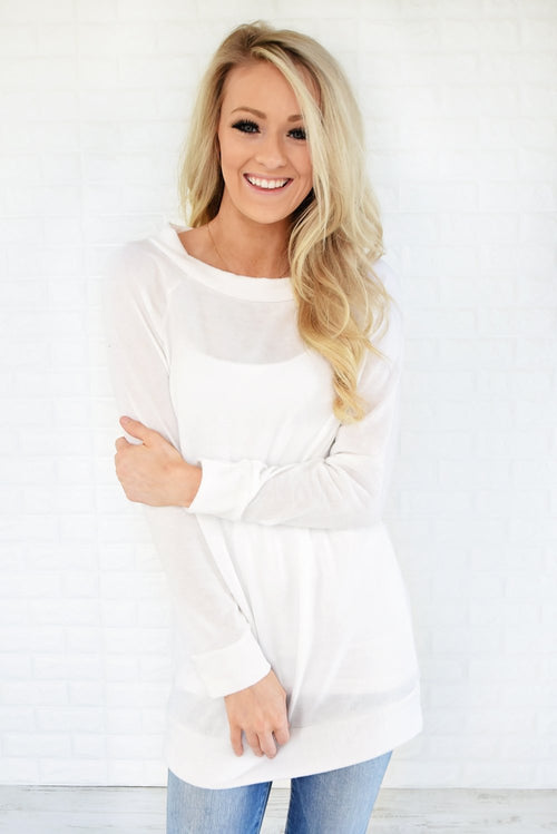 Forever Cozy Tunic Top ~ White